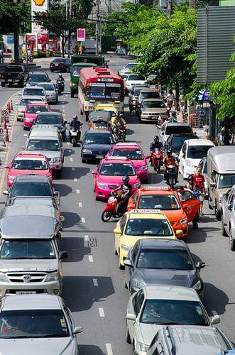 Verkeersdrukte in Bangkok van