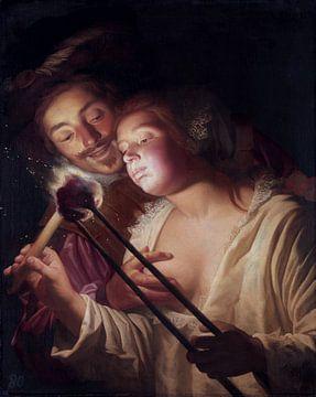 Mädchen und Soldat, Gerard van Honthorst - 1626 von Atelier Liesjes