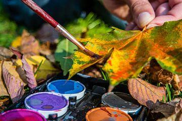 Herfstdecoratie met aquarelverf en bladeren van Animaflora PicsStock