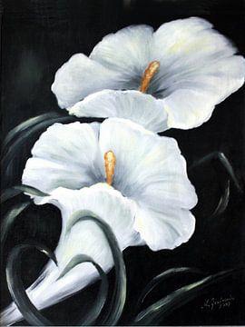 Witte Calla - Bloemen hand beschilderd van Marita Zacharias