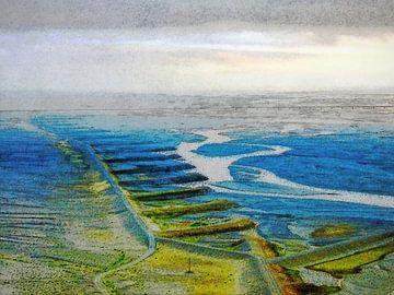Waterwerken bij Skaftafell, IJsland van Frans Blok