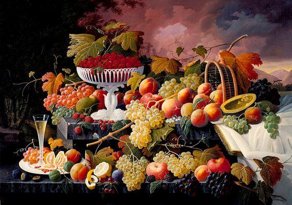 Severin Roesen. Stilleven met fruit van 1000 Schilderijen