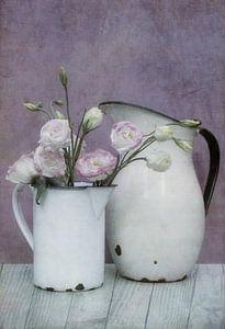 Vintage potten met bloemen van