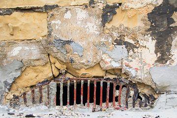 Detail oude stenen muur van Yke de Vos