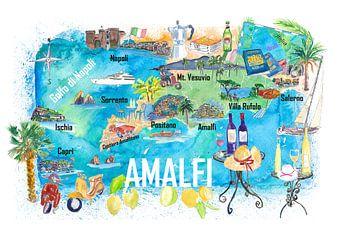 Amalfi Italien Illustrierte Mittelmeer-Reisekarte mit Highlights des Golfs von Neapel von Markus Bleichner