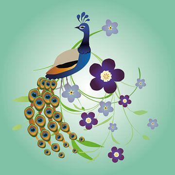 Pfau mit Blumen von Bianca Wisseloo