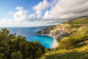 Myrtos strand in Kefalonia, Griekenland van