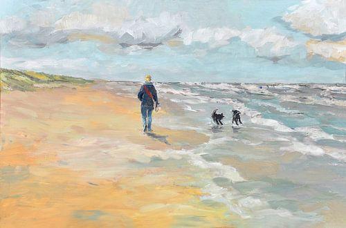 Strandwanderer mit Hunden von Yvon Schoorl