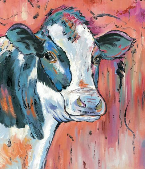 In the Moood - Koeien Schilderij Kalme Koe - Koeien Kunst Koeienkunst van Kunst Company