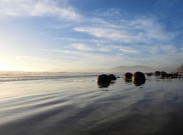 Totaalbeeld van de Moeraki Boulders in Nieuw-Zeeland van J V