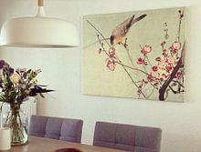 Klantfoto: Zangvogel op bloesemtak, Ohara Koson, op canvas