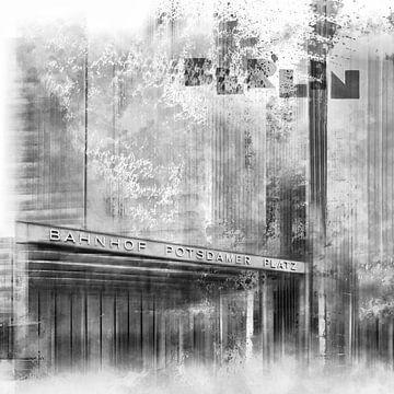 City-Art BERLIN Potsdamer Platz schwarz-weiß von Melanie Viola
