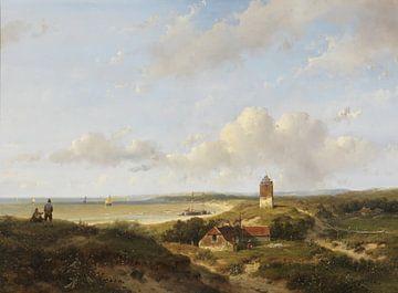 Een vuurtoren en visserswoningen in de duinen, in de verte de zee, Andreas Schelfhout sur