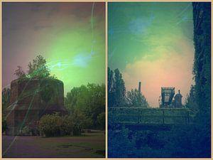 Buitenaardse landschappen collage in roze en groen tinten van Carin Klabbers