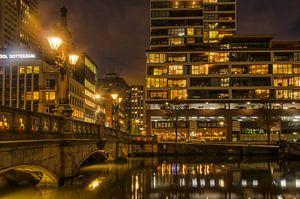 De Wijnhaven bij nacht van Frans Blok