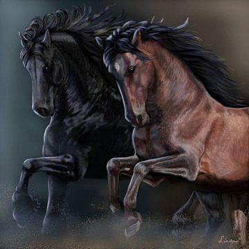 Tanzende PRE-Pferde von Linda van Kleef