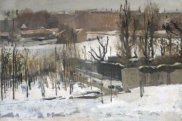 Gezicht op het Oosterpark in Amsterdam in de sneeuw, George Hendrik Breitner van