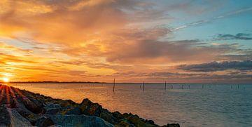 Fischernetze bei Sonnenuntergang in der Nähe des Haringvlietdam von Marjolein van Middelkoop