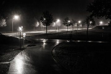 Regenachtige federale snelweg (bij nacht) van Norbert Sülzner