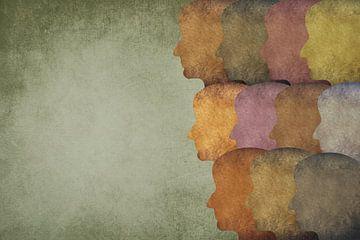 Silhouetten van hoofden die in één richting kijken van Berit Kessler