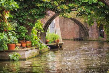 Boogbruggen van de Kromme Nieuwegracht in Utrecht in de zomer van