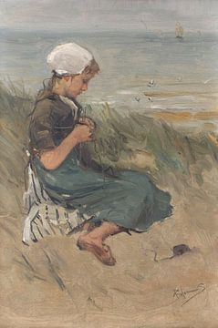 Breiend meisje op een duin, Bernardus Johannes Blommers sur