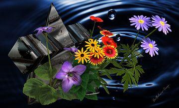 3d-illustratie, Sillleben bloemen aan het meer. van Norbert Barthelmess