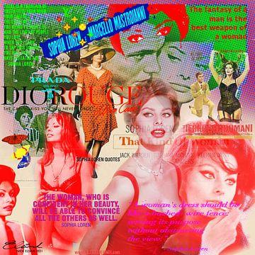 Citations Sophia Loren ROUGE sur Nicky - digital mixed media art