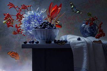 Stilleven Blauw en rood van Willy Sengers