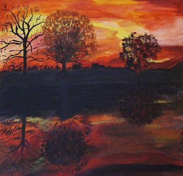Sonnenuntergang am Fluss III van Babetts Bildergalerie