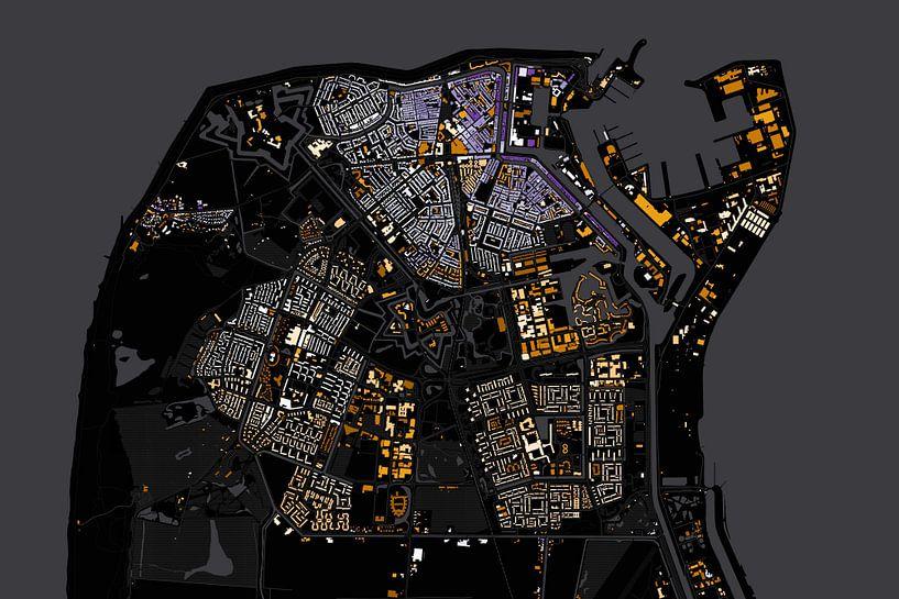 Kaart van Den Helder abstract van Stef Verdonk