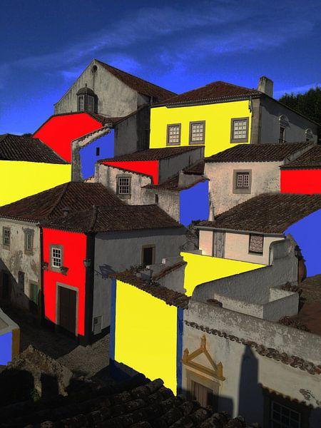 Portugees dorp uit de serie Muurverf von Rob IJsselstein