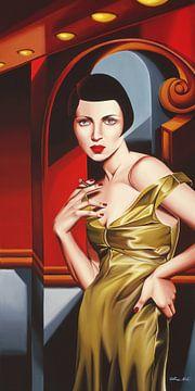 Olive Satin Dress von Catherine Abel