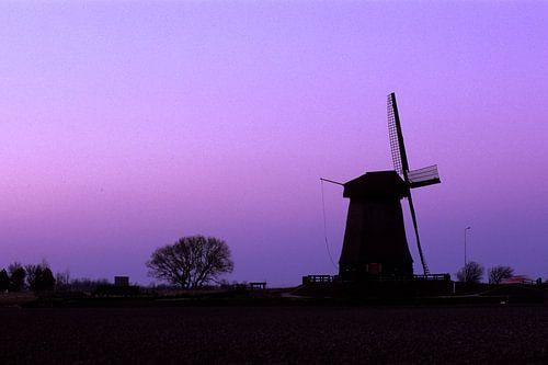 Oude windmolen in  paars maanlicht bij Schermerhorn van Martin Stevens