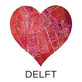 L'amour de Delft | Un plan de la ville dans un cœur sur - Wereldkaarten.shop -