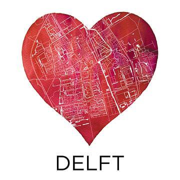 Die Liebe zu Delft | Stadtplan im Herzen von - Wereldkaarten.shop -