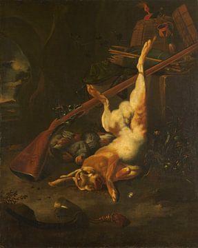 Jachtbuit met dode haas, Melchior d'Hondecoeter van