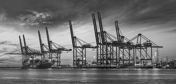 Grote container terminal bij zonsondergang met dramatische wolken van Tony Vingerhoets