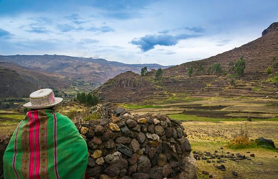 Peruaanse vrouw kijkt uit over het dal