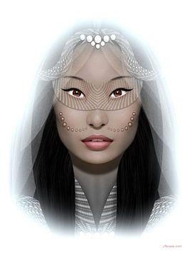 Frau mit Maske von Ton van Hummel (Alias HUVANTO)