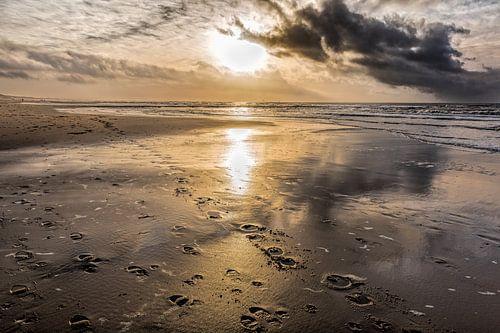 Nordseestrand mit seinen Unheilschwanger Himmel