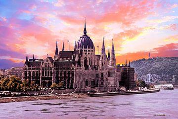 Parlements gebouw in Boedapest Hongarije bij zonsondergang von Nisangha Masselink