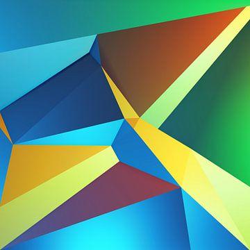 Lijn en kleuren compositie kubisme kunstwerk van Pat Bloom - Moderne 3D, abstracte kubistische en futurisme kunst
