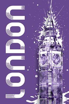 Grafische Kunst LONDEN de Big Ben | ultraviolet van Melanie Viola