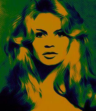 Motief Brigitte Bardot - Vintage Geel - Ultra HD van Felix von Altersheim