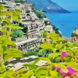 Amalfikust - Uitzicht op de Zee bij Positano - Schilderij van Schildersatelier van der Ven