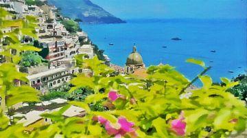 Amalfiküste - Meerblick bei Positano - Gemälde