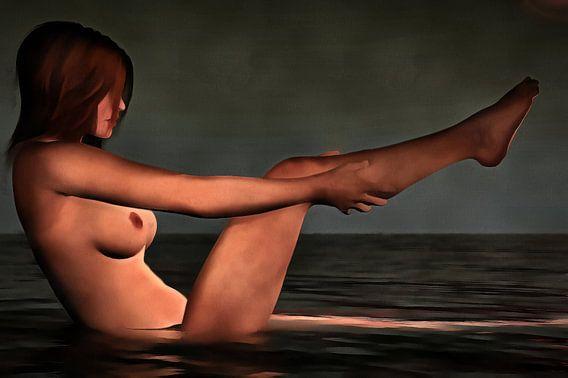 Erotisch naakt - naakt meisje dat een bad neemt