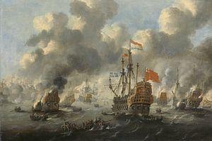 VOC Zeeslag schilderij: Het verbranden van de Engelse vloot voor Chatham, 20 juni 1667, Peter van de