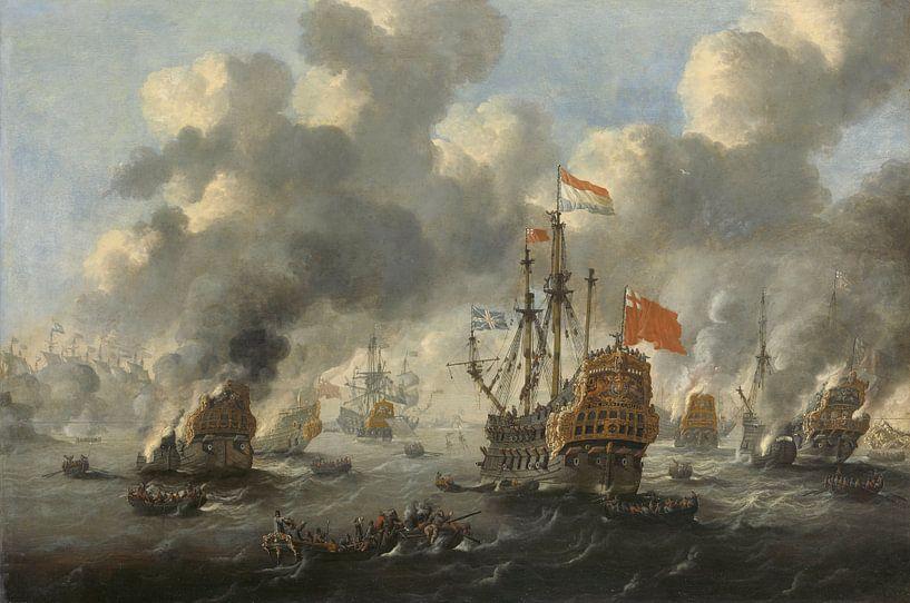 VOC Zeeslag schilderij: Het verbranden van de Engelse vloot voor Chatham, 20 juni 1667, Peter van de sur Schilderijen Nu